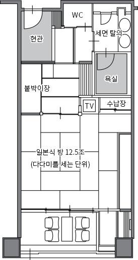 쓰키(달) 동 B타입 스탠더드 일본식 방 배치도